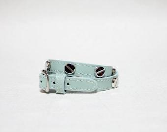 Screw Stud Ornament Leather Bracelet(MINT)