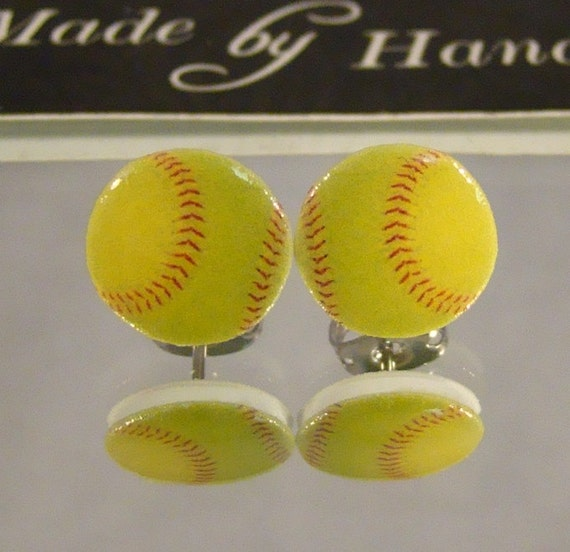 softball stud earrings surgical steel by afanaffair on etsy