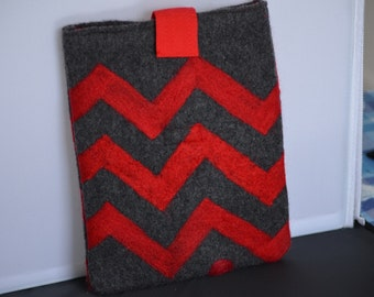 ipad Sleeve Red Gray Chevron Easy to Slide In & Out Design