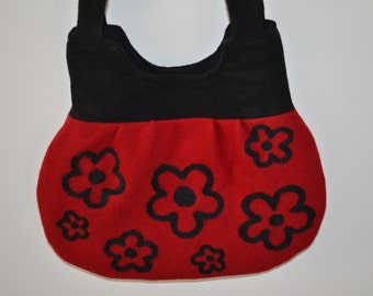 Purse Felted Red Black Flowers
