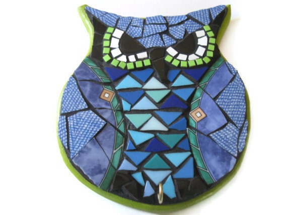 Owl Art wall hanging Hook Hanger Key Holder Broken China Mosaic Home Decoration Mother's Day