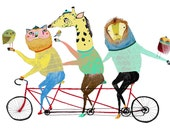 Children's Art Print - Bike Print - Kids art - Illustration print - Nursery Decor - ''Biking Animal Friends''.