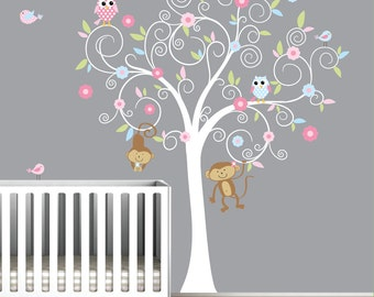 Nursery Children Wall Decal Tree with Monkeys-Vinyl Wall Decals Stickers