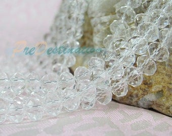One Strand(about 15inches) Gorgeous Clear Czech Glass Rondelle Beads 6X4mm Faceted Oblate