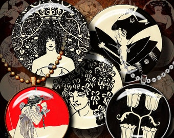 Ink Drawings by AUBREY BEARDSLEY (2) Two Digital Collage Sheets with Circles 1.5 inch or any smaller size - See Promo Offer