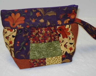 Small Patchwork Quilted Purse in Dark Purple, Cream, Rust, Green and Golds
