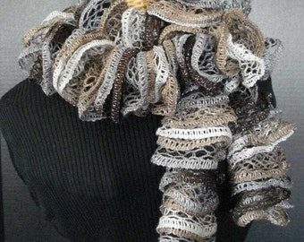 Hand Knit Ruffled Scarf in Brown, Taupe and Grey with Silver Accent