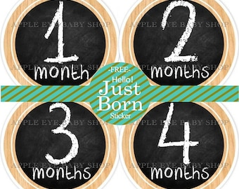 Baby Month Stickers, Monthly Baby Stickers, Baby Milestones, Baby Neutral Stickers, Baby Boy or Girl First Stickers, Wood & Chalkboard
