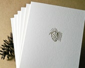 Six (6) Pinecone Note Card - Letterpress - FlyingRabbitPress