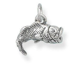 Sterling Silver Big Mouth Bass Fish Charm 3D Pendant