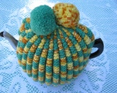 Vintage Tea Cozy - Green and Yellow Stripes - Vintage Style for your teapot.