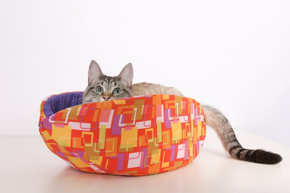 Cat Canoe a Modern Kitty Bed in Mod Orange Squares and Purple