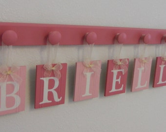 Baby Nursery - Personalized Baby Wall Letters - Boutique Sign Name - Custom Two Tone Pink - Wooden Pegs Pink