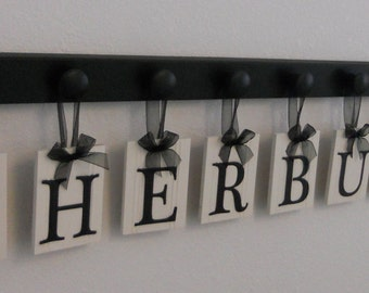 CUSTOM Name Sign Set Includes Peg Wood Hooks in Black PERSONALIZED Hanging Ribbon Letter Plaques, Wedding Gift / Family Sign