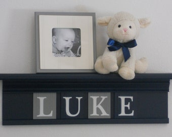 NAVY BLUE Personalized Children Name Nursery Wall Decor Navy Shelf with Custom Wooden Letter Blocks Navy and Grey