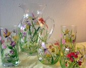 Set of  12  glasses and matching pitcher, dragonflies and wildflowers,