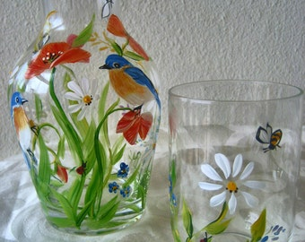 Hand painted bedside carafe with wildflowers and bluebirds, gift for mom, mothers day. New design has a ribbed base.
