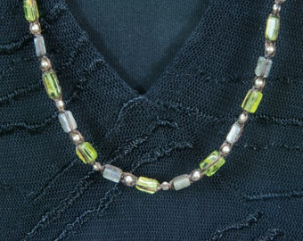 Handmade Peridot, Labradorite, and Sterling Silver Long Necklace