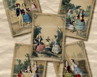 Childrens Picture Book Illustrations ACEO ATC Antique Victorian Story Book Girls Dolls Decoupage Paper Digital Collage Sheet Download 203