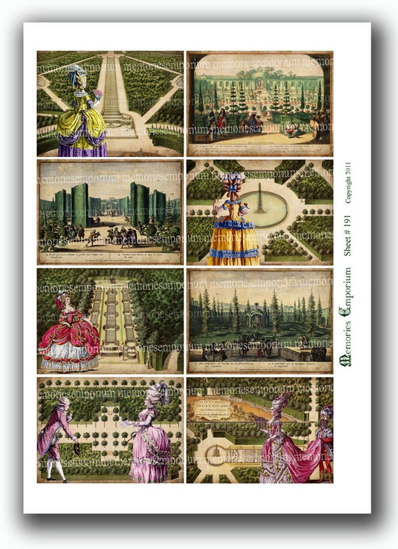 French Chateau Gardens Jardins Trees ACEO ATC size Decoupage Antique Country Digital Collage Sheet Printable Instant Download 191