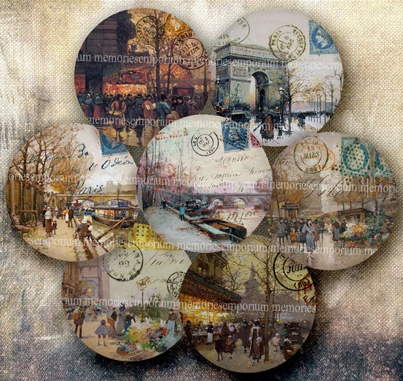 Shabby Chic Paris Decoupage 2.5 inch Circles Vintage Parisian Street Scenes Buttons Magnets Compacts Digital Collage Sheet Download 235