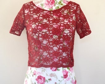 Pretty red lace vintage inspired scalloped sleeve top Kee Boutique Ready to send