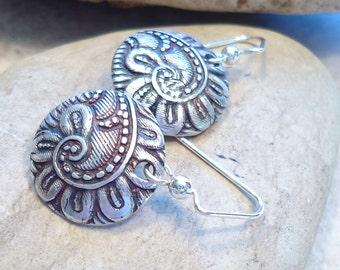 Curling Fern Fine Silver Earrings,  Sterling Silver, Reclaimed Silver