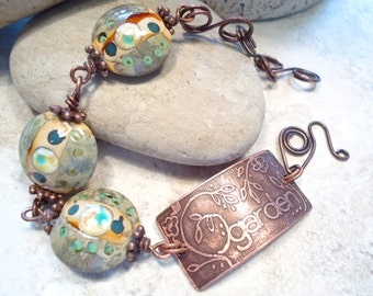 Garden Etched Copper Cuff Lampwork Bracelet