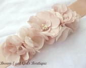 Amsale Inspired Blush Wedding Sash, Bridal Sash, Floral Bridal Sash, Bridal Belt -Blush Flowers