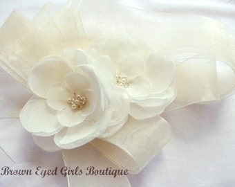Ivory Bridal Sash, Ivory Chiffon and Organza Bridal Sash, Ivory Bridal Belt, Ivory Wedding Belt, Ivory Organza Bridal Belt