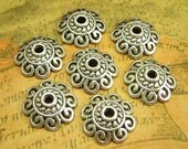 50 pcs Antique Silver Bead Caps 12mm Jewelry Making CH1500