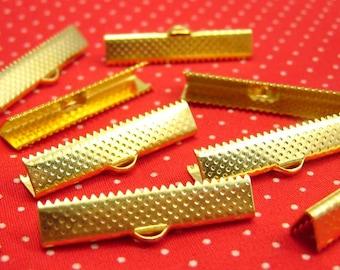 20 pcs Gold Textured Crimp End for Ribbon 30mm CH1430