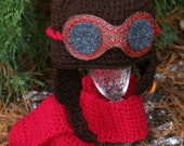 """O -3 Month Red """"B"""" Crocheted Aviator Hat Leather Like Goggles and quality buttons, Baby Aviator Hat, Aviator Hat"""