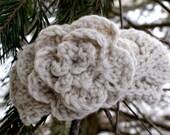 Newborn Baby Horizontal Cable Neutral Color Headband, Crochet Baby Headband, Baby Girl knitted headband, Crochet Flower headband