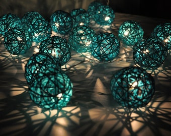 20 Bulbs fairy lights Turquoise Rattan ball string lights for Patio,Wedding,Party and Decoration