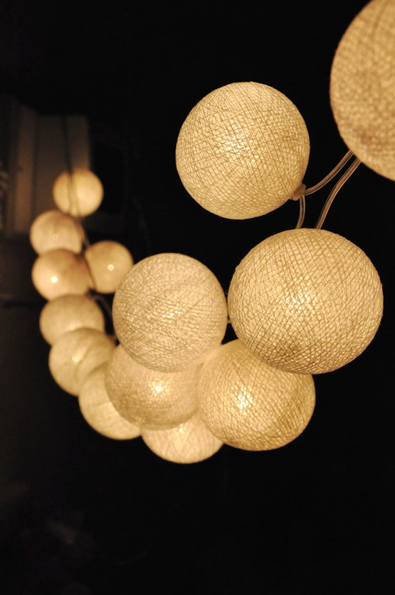 Handmade White cotton ball string lights for