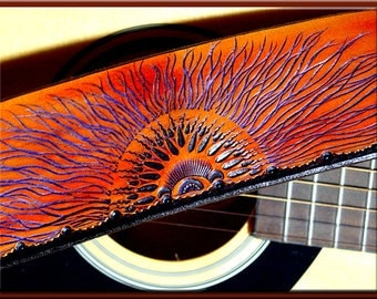 MULTI SUNRISE Design • A Beautifully Hand Tooled, Hand Crafted Leather Guitar Strap