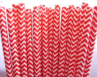 25 Red & White Chevron Striped Party Paper Drinking Straws A210