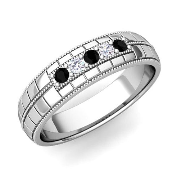 White and Black Diamond Mens Wedding Ring in 14k White Gold Band, 5mm - Save Extra 20%, Use Code: LOVE20