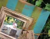 Vertical Stripes Distressed Picture Frame, Desert Turquoise / Spanish Olive / Linen