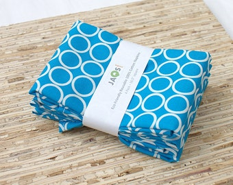 Large Cloth Napkins - Set of 4 - (N868) - Aqua Circles Modern Reusable Fabric Napkins