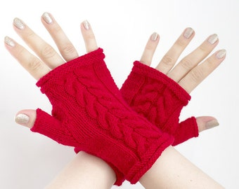 Hand knitted rich red wool blend fingerless gloves, wrist warmers, fingerless mittens, hand knitted mittens - READY to ship