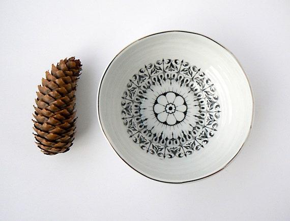 Handmade Decorative Bowl with Platinum Rim