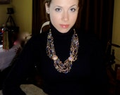 Elegant  gold or silver  crystal statement necklace - creativedesignsstore
