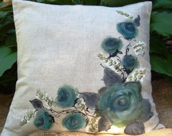 Hand painted  17'' pillow cover ( cherry blossom, roses, Sticks)