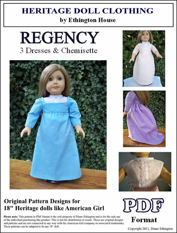 Regency Early 1800s Dresses and Chemisette PDF Pattern for 18 inch or American Girl Dolls - INSTANT DOWNLOAD