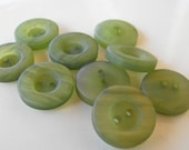 9 Olive Fat Frosted Round Buttons Size 11/16""
