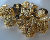 """Dollar Sale 20 Gold Flower Rope Shank Buttons Size 3/4"""""""