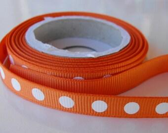 Orange with White Polka Dots Grosgrain Ribbon 5 Yards