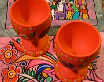 Take 20% Off TWO Orange Wood Mexican Floral Egg Cups
